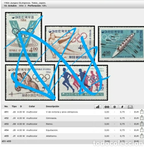 Sellos: HB Corea del Sur nueva/1964/Juegos olimpiadas Tokyo, Japon/Remo de 8/deportes acuaticos/atletas/barc - Foto 5 - 152563329