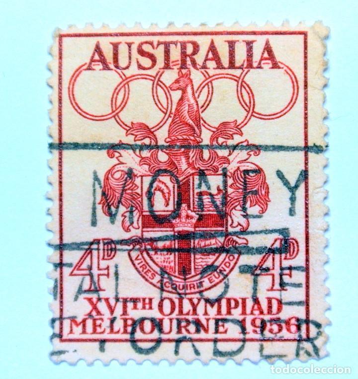 SELLO POSTAL AUSTRALIA 1956, 4 D,OLIMPIADAS MELBOURNE 1956, CONMEMORATIVO, USADO (Sellos - Temáticas - Olimpiadas)
