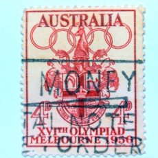 Sellos: SELLO POSTAL AUSTRALIA 1956, 4 D,OLIMPIADAS MELBOURNE 1956, CONMEMORATIVO, USADO. Lote 153341062