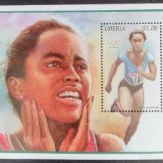 Francobolli: 1996. DEPORTES. LIBERIA. HB 149 A. ATLETISMO. EVELYN ASFORD. JUEGOS OLÍMPICOS ATLANTA. NUEVO. . Lote 154243710