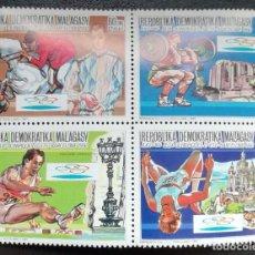 Sellos: 1987. DEPORTES. MADAGASCAR. 825/828 EN BLOQUE. PRE-JUEGOS OLÍMPICOS BARCELONA. SERIE COMPLETA. NUEVO. Lote 154677286