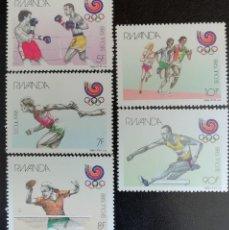 Sellos: 1988. DEPORTES. RWANDA. 1263 / 1267. JUEGOS OLÍMPICOS SEÚL. SERIE COMPLETA. NUEVO.. Lote 155799870