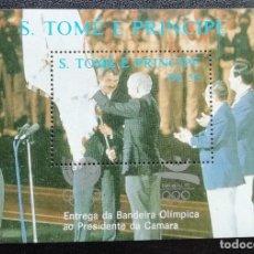 Sellos: 1988. DEPORTES. SANTO TOMÉ PRÍNCIPE. HB 63 E. PRE-JUEGOS OLÍMPICOS BARCELONA. SAMARANCH. NUEVO.. Lote 155837426
