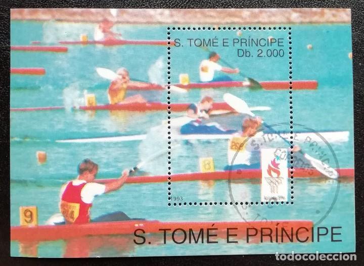 1993. DEPORTES. SANTO TOMÉ PRÍNCIPE. HB 148. PRE-JUEGOS OLÍMPICOS ATLANTA. PIRAGÜISMO. USADO. (Sellos - Temáticas - Olimpiadas)