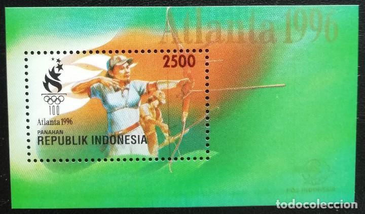 1996. DEPORTES. INDONESIA. HB 103. JUEGOS OLÍMPICOS ATLANTA. TIRO CON ARCO. NUEVO. (Sellos - Temáticas - Olimpiadas)