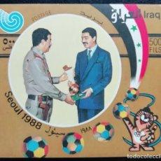 Sellos: 1988. DEPORTES. IRAK. HB 54. JJ. OO. SEÚL. PRESIDENTE SADDAM HUSSEIN FELICITA A DEPORTISTA. NUEVO.. Lote 159151926