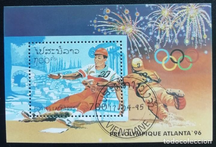 1995. DEPORTES. LAOS. HB 131. PRE-JUEGOS OLÍMPICOS ATLANTA. BÉISBOL. USADO. (Sellos - Temáticas - Olimpiadas)