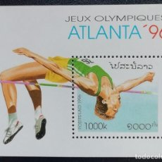 Sellos: 1996. DEPORTES. LAOS. HB 133. JUEGOS OLÍMPICOS ATLANTA. ATLETISMO. NUEVO.. Lote 159656434