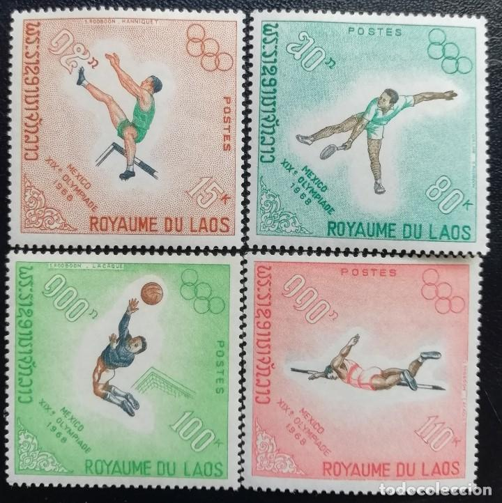 1968. DEPORTES. LAOS. 189 / 192. JUEGOS OLÍMPICOS MÉXICO. SERIE COMPLETA. NUEVO. (Sellos - Temáticas - Olimpiadas)
