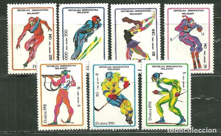 MALAGASY 1991 SC 1037/43 *** JUEGOS OLIMPICOS DE INVIERNO EN ALTBERVILLE - DEPORTES (Sellos - Temáticas - Olimpiadas)