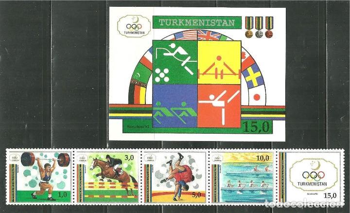 TURKMENISTAN 1992 IVERT 25/29 Y HB 2 *** JUEGOS OLIMPICOS DE BARCELONA - DEPORTES (Sellos - Temáticas - Olimpiadas)