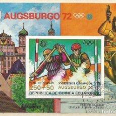 Sellos: REPÚBLICA DE GUINEA ECUATORIAL - AUGSBURGO 1972 - OLIMPIADA DE ALEMANIA - BLOQUE NUEVO. Lote 161592910