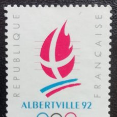 Sellos: 1990. DEPORTES. FRANCIA. 2632. PRE-JUEGOS OLÍMPICOS ALBERTVILLE. LOGO EVENTO. SERIE COMPLETA. NUEVO.. Lote 161711474