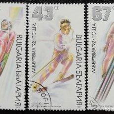 Sellos: 1991. DEPORTES. BULGARIA. 3381 / 3384. JUEGOS OLÍMPICOS ALBERTVILLE. USADO.. Lote 162139130