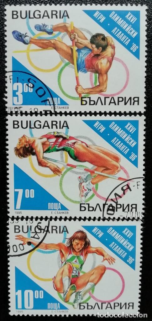 1995. DEPORTES. BULGARIA. 3609, 3610, 3611. PRE-JUEGOS OLÍMPICOS ATLANTA. SERIE CORTA. USADO. (Sellos - Temáticas - Olimpiadas)