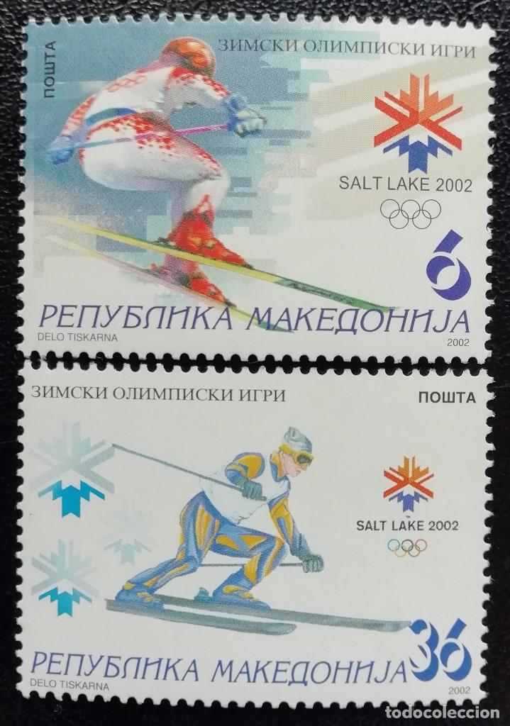2002. DEPORTES. MACEDONIA. JUEGOS OLÍMPICOS SALT LAKE CITY. ESQUÍ. SERIE COMPLETA. NUEVO. (Sellos - Temáticas - Olimpiadas)