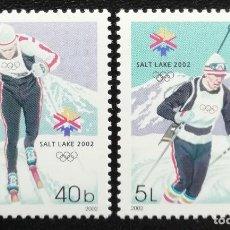 Sellos: 2002. DEPORTES. MOLDAVIA. JUEGOS OLÍMPICOS SALT LAKE CITY. SKI FONDO, BIATLÓN. SERIE COMPLETA. NUEVO. Lote 162377086