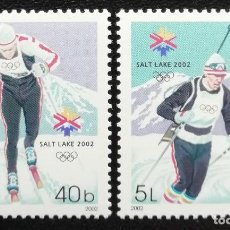 Timbres: 2002. DEPORTES. MOLDAVIA. JUEGOS OLÍMPICOS SALT LAKE CITY. SKI FONDO, BIATLÓN. SERIE COMPLETA. NUEVO. Lote 162377086