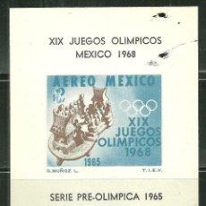 Sellos: MEXICO 1965 HB IVERT 4 *** PRELUDIO DE LOS JUEGOS OLIMPICOS - DEPORTES. Lote 162598634