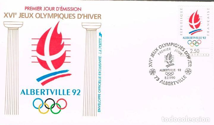 FRANCIA IVERT Nº 2632, JUEGOS OLIMPICOS DE ALBERVILLE 1992, PRIMER DIA DE 8-2-1990 (Sellos - Temáticas - Olimpiadas)