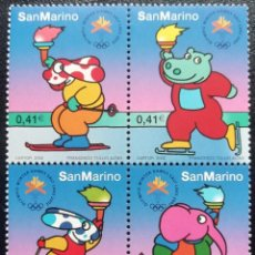 Sellos: 2002. DEPORTES. SAN MARINO. JJ.OO SALT LAKE CITY. MASCOTAS CON ANTORCHAS. SERIE COMPLETA. NUEVO.. Lote 164055774