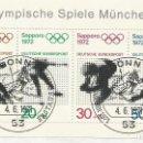 Sellos: ALEMANIA - BLOQUE DE XX. OLIMPIADA DE MUNICH 1972 - FIJADO A UN RESTO DE SOBRE. Lote 164210826