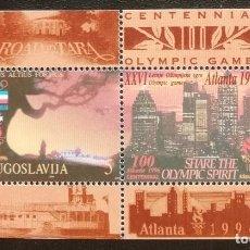 Sellos: 1996. DEPORTES. YUGOSLAVIA. HB 43. JUEGOS OLÍMPICOS ATLANTA. CENTENARIO JUEGOS. NUEVO. . Lote 164577882