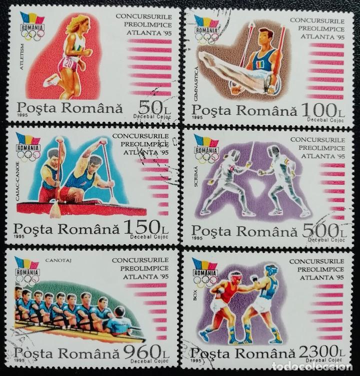 1995. DEPORTES. RUMANÍA. 4301 A / 4301 F. PRE-JUEGOS OLÍMPICOS ATLANTA. SERIE COMPLETA. USADO. (Sellos - Temáticas - Olimpiadas)