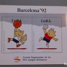 Sellos: ESPAÑA - 1988 - HOJITAS OLIMPIADAS BARCELONA 92 - COBI - BALONCESTO Y BALONMANO.. Lote 164820774