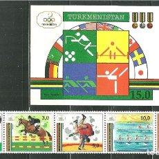 Sellos: TURKMENISTAN 1992 IVERT 25/29 Y HB 2 *** JUEGOS OLIMPICOS DE BARCELONA - DEPORTES. Lote 165453246