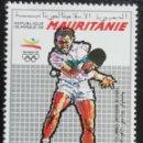 Sellos: 1992. DEPORTES. MAURITANIA. JUEGOS OLÍMPICOS BARCELONA. TENIS DE MESA. SERIE CORTA. NUEVO.. Lote 166915120