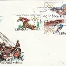 Sellos: EDIFIL 1885/8, JUEGOS OLIMPICOS DE MEJICO, PRIMER DIA DE 24-9-1968 EN SOBRE DE ALFIL. Lote 167158624