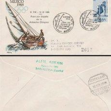 Sellos: AÑO 1968, PASO POR ESPAÑA DE LA ANTORCHA OLIMPICA, MATASELLO DE MADRID, SOBRE CIRCULADO. Lote 167158836