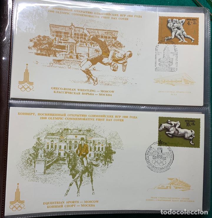Sellos: COLECCIÓN 38 SOBRES PRIMER DÍA OLIMPIADAS MOSCÚ 1980 EN ALBÚM PARA LA EDICIÓN - Foto 3 - 167632050