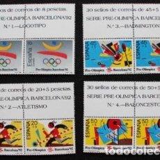 Sellos: SERIE 1 PRE OLIMPICA BARCELONA 92 NUEVOS PAREJAS AÑO 1988 CORREOS ESPAÑA. Lote 170898615