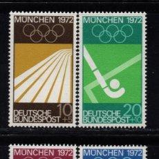Sellos: ALEMANIA 450/53** - AÑO 1969 - JUEGOS OLÍMPICOS DE MUNICH. Lote 268169654