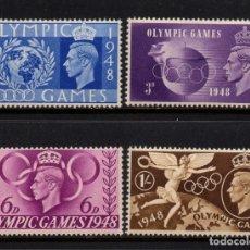 Sellos: GRAN BRETAÑA 241/44** - AÑO 1948 - JUEGOS OLÍMPICOS DE LONDRES. Lote 268169769