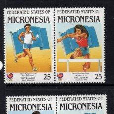 Sellos: MICRONESIA 53/56** - AÑO 1988 - JUEGOS OLIMPICOS DE SEUL - ATLETISMO - BALONCESTO - VOLEIBOL. Lote 175428735