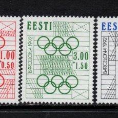 Sellos: ESTONIA 194/96** - AÑO 1992 - JUEGOS OLIMPICOS DE BARCELONA. Lote 175553240