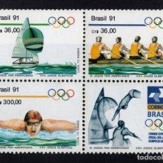 Sellos: BRASIL 2009/11** - AÑO 1991 - JUEGOS OLÍMPICOS, BARCELONA 92 - VELA - NATACION - REMO. Lote 176748984