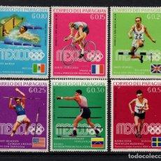 Sellos: PARAGUAY 1000/05* - AÑO 1969 - VENCEDORES EN LOS JUEGOS OLIMPICOS DE MEXICO. Lote 176751110