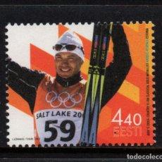 Sellos: ESTONIA 419** - AÑO 2002 - JUEGOS OLIMPICOS DE INVIERNO DE SALT LAKE CITY. Lote 176837264