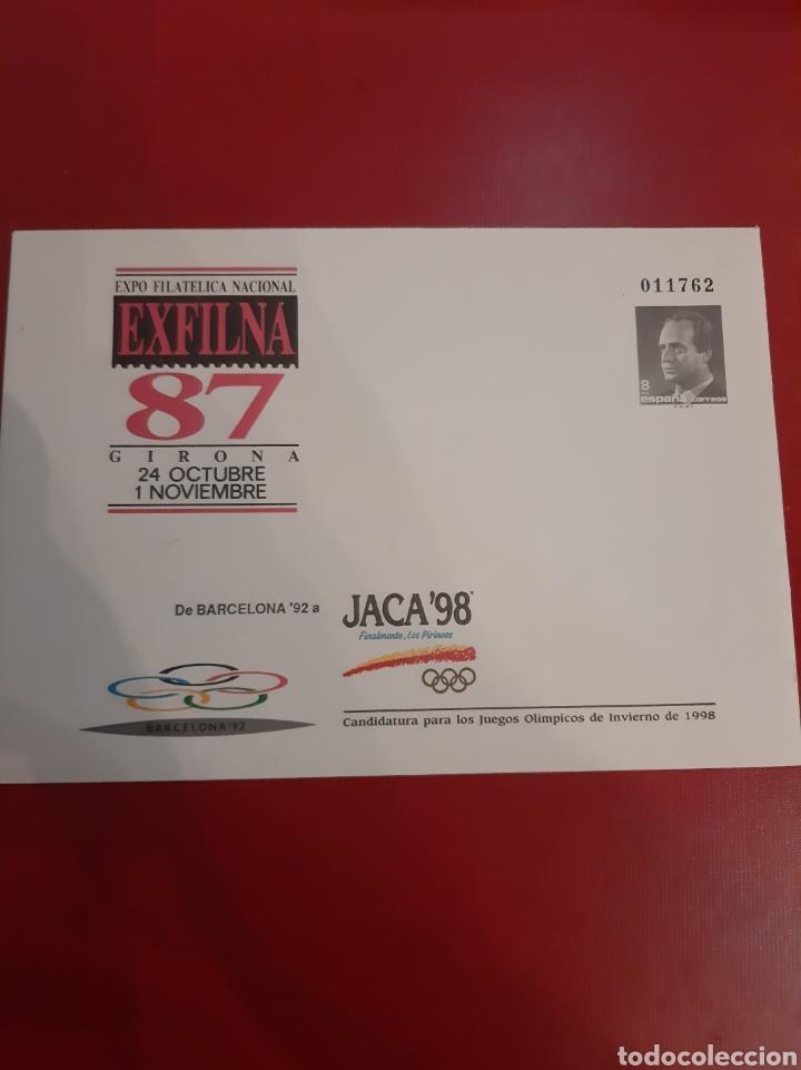 10 A EXFILMA 87 JACA 98 CANDIDATURAS JUEGOS OLIMPICOS INVIERNO ESPAÑA ENTERO POSTAL (Sellos - Temáticas - Olimpiadas)