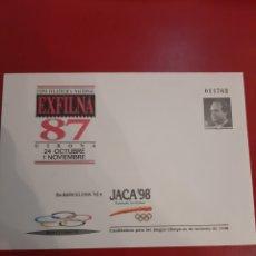 Sellos: 10 A EXFILMA 87 JACA 98 CANDIDATURAS JUEGOS OLIMPICOS INVIERNO ESPAÑA ENTERO POSTAL. Lote 177703399