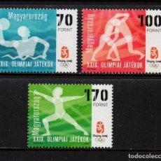 Sellos: HUNGRIA 4263/65** - AÑO 2008 - JUEGOS OLIMPICOS DE PEKIN - WATERPOLO, ESGRIMA, LUCHA. Lote 178218403