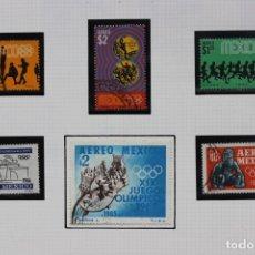 Sellos: LOTE 6 SELLOS MEXICO CONMEMORATIVOS OLIMPIADA 1968. Lote 180601345