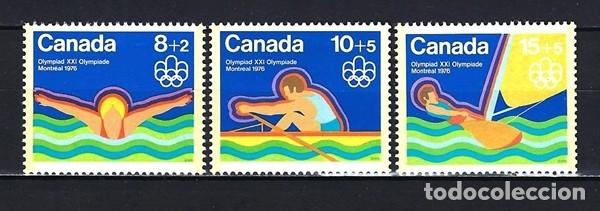 1975 CANADÁ JUEGOS OLÍMPICOS DE MONTREAL 1976 DEPORTES REMO NATACIÓN VELA YVERT 556/558 NUEVOS MNH** (Sellos - Temáticas - Olimpiadas)