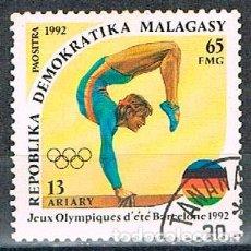 Sellos: MADAGASCAR Nº 1428, JUEGOS OLIMPICOS DE BARCELONA 1992, GIMNASIA, USADO. Lote 184651383