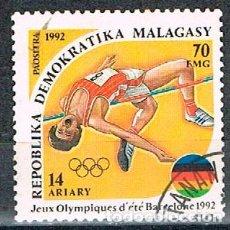 Sellos: MADAGASCAR Nº 1429, JUEGOS OLIMPICOS DE BARCELONA 1992, SALTO DE ALTURA, USADO. Lote 184651440