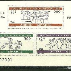 Sellos: MEXICO 1966 HB IVERT 6 *** PRELUDIO JUEGOS OLIMPICOS DE 1968 - DEPORTES. Lote 187980298